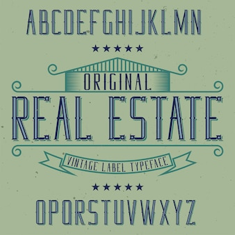 Tipo de letra de rótulo vintage chamado real estate