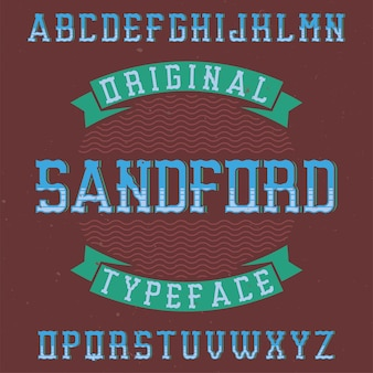 Tipo de letra de rótulo vintage chamado sandford.