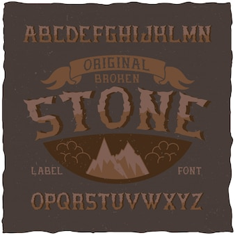 Tipo de letra de rótulo vintage chamado stone. boa fonte para usar em qualquer etiqueta ou logotipo vintage.