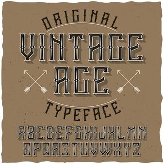 Tipo de letra de rótulo vintage chamado vintage age.