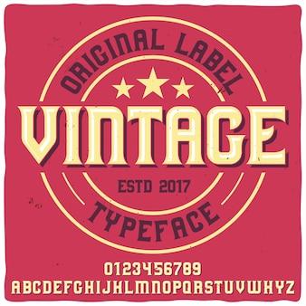 Tipo de letra de rótulo vintage denominado