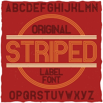 Tipo de letra de rótulo vintage listrado. ideal para cartazes, manchetes e design gráfico em estilo retro.