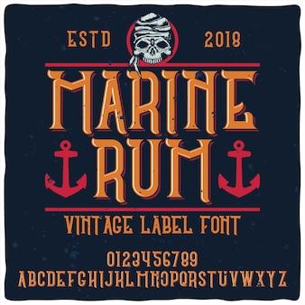 Tipo de letra do alfabeto vintage chamado marine rum.
