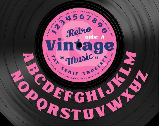Tipo de letra em negrito com serifa vintage retrô. letras do alfabeto no fundo do disco de vinil.