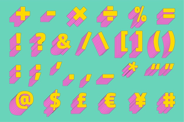 Tipo de letra estilizado de vetor 3d com conjunto de símbolos