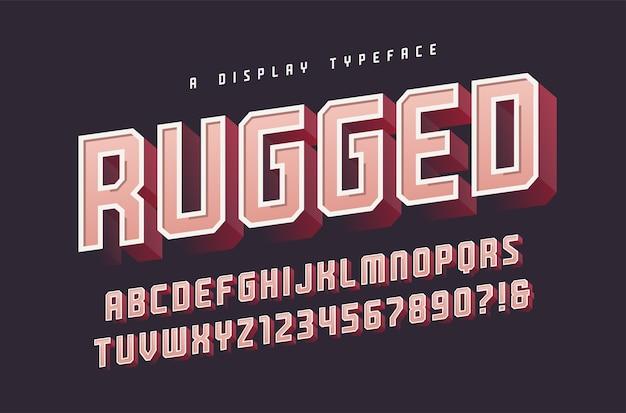 Tipo de letra, fonte, letras maiúsculas e números, alfabeto e tipografia robusta e elegante em 3d. amostras globais.