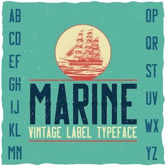 Tipo de letra marinho vintage e amostra