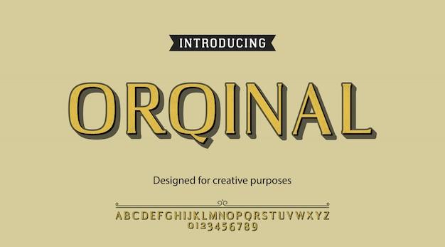Tipo de letra original. para rótulos e designs de tipos diferentes
