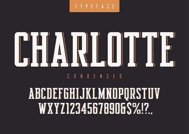 Tipo de letra retrô condensado, letras maiúsculas e números