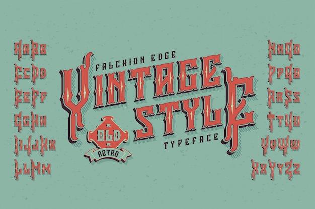 Tipo de letra vintage com efeito extrudado