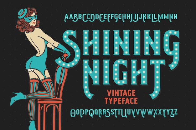 Tipo de letra vintage noite brilhante