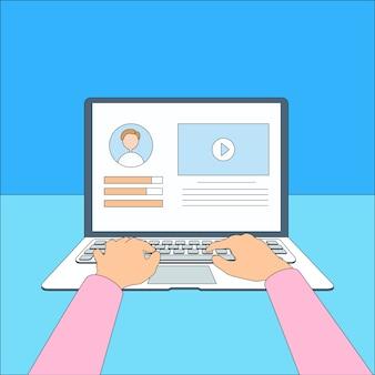 Tipo de mãos de laptop trabalhando usando linha fina de computador