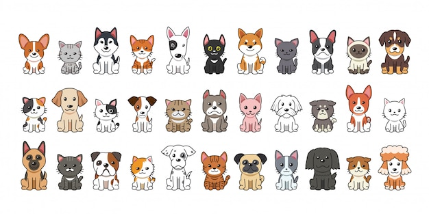 Tipo diferente de cães e gatos dos desenhos animados