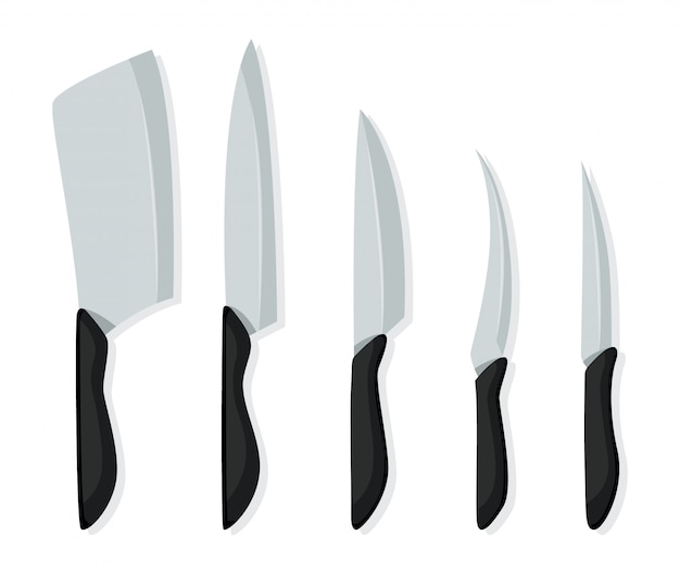 Tipo diferente de facas para chefs, ícone de faca para açougue. conjunto de facas de carne de açougueiro para temas de açougueiro de design. facas de cozinha realistas isoladas