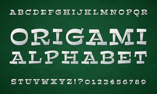 Tipo dobrado dos desenhos animados. fonte de papel branco. letras e números do origami 3d. alfabeto retrô de vetor