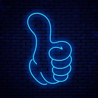 Tipo, polegar para cima, ok, sim e ícone super neon.