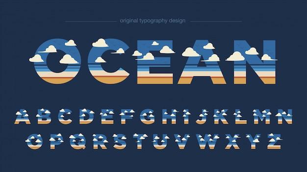 Tipografia abstrata de paisagem de praia