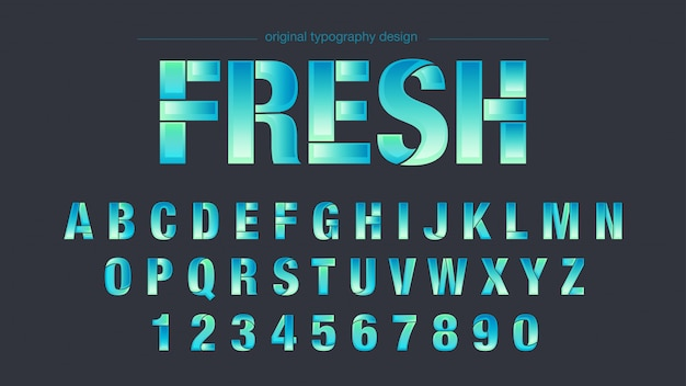 Tipografia abstrata em fatias verdes