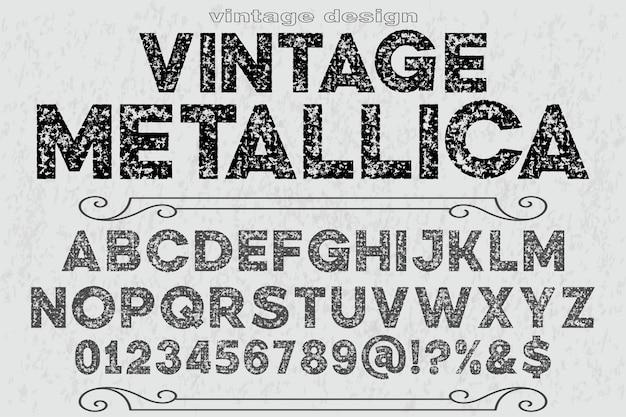 Tipografia alfabeto fonte design vintage metallica