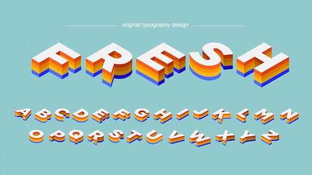 Tipografia bold (realce) colorida isométrica