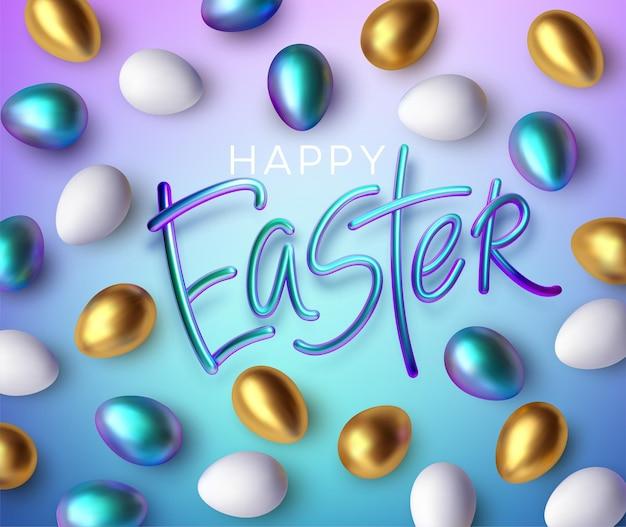 Tipografia brilhante metálica moderna na moda feliz páscoa feliz em um fundo de ovos de páscoa. letras 3d realistas para o design de folhetos, folhetos, cartazes e cartões. ilustração vetorial eps10