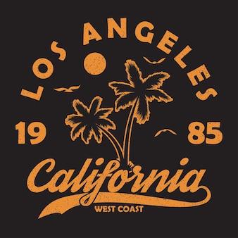 Tipografia califórnia los angeles para camiseta de roupas de design impressão gráfica com palmeira