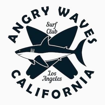 Tipografia califórnia los angeles para camiseta de roupas de design impressão gráfica com tubarão