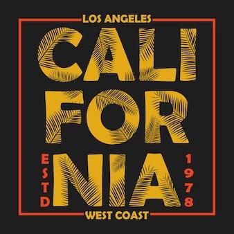 Tipografia califórnia los angeles para camisetas de roupas de design com folhas de palmeira