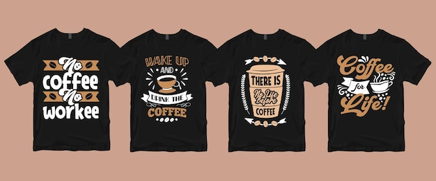 Tipografia caligrafia letras café cita pacotes de camisetas