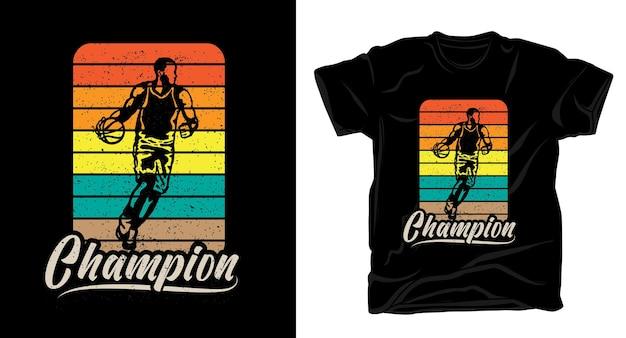 Tipografia campeã com design de camiseta vintage de jogador de basquete
