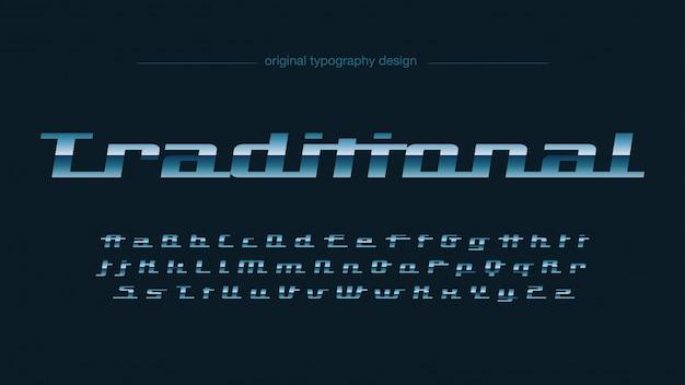 Tipografia clássica azul cromado