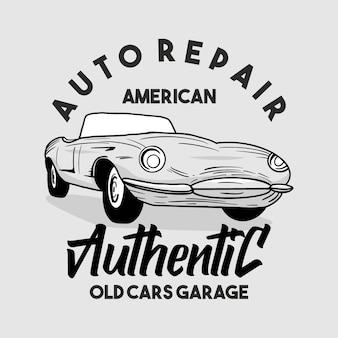 Tipografia clássica de garagem para carros desenhada à mão