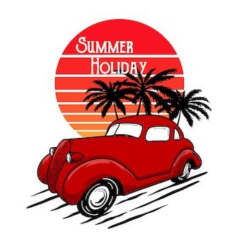 Tipografia clássica de praia de carro para impressão de t-shirt com palm, praia e carro. pôster vintage.