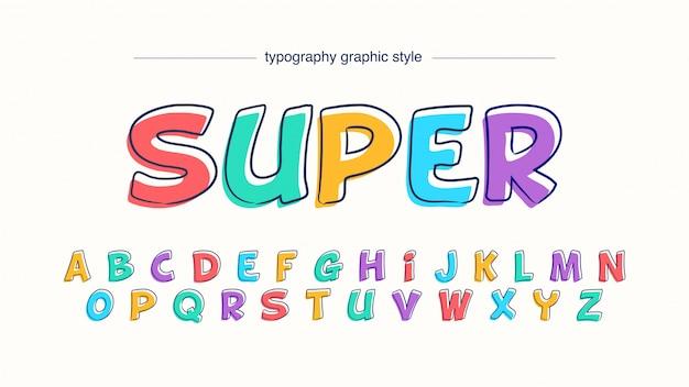 Tipografia colorida dos desenhos animados de quadrinhos divertidos