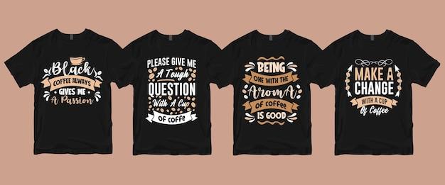 Tipografia com letras de café cita pacote de camisetas