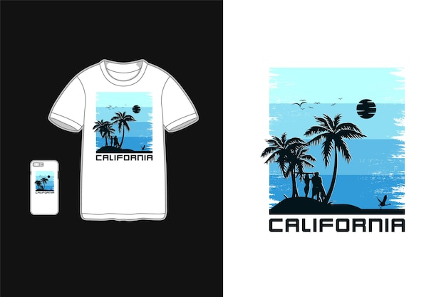 Tipografia da califórnia na maquete da silhueta da camiseta para mercadorias