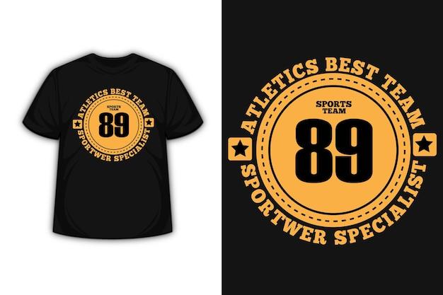 Tipografia da equipe esportiva atletismo com design de camiseta cor laranja