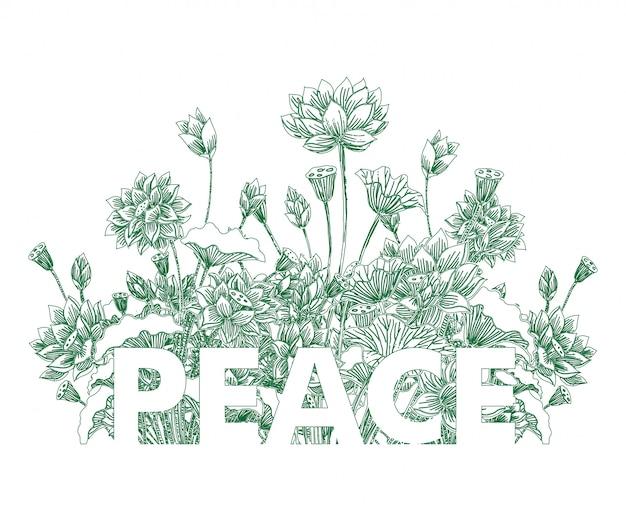 Tipografia da paz em lotus floral