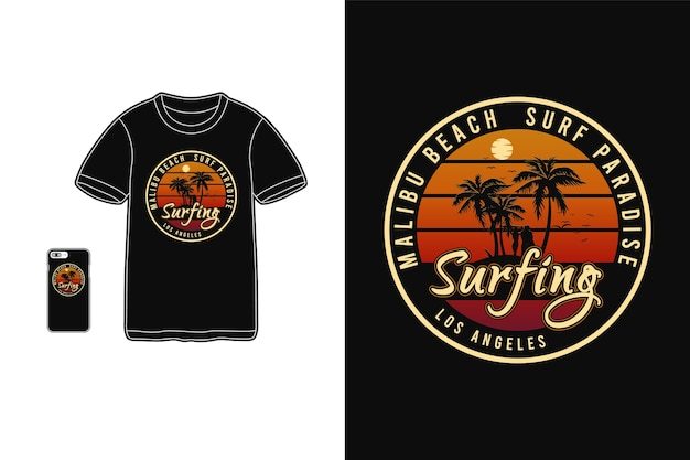 Tipografia da praia de malibu em produtos para camisetas e dispositivos móveis