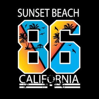 Tipografia da praia do por do sol de califórnia para a camisa de t e o outro uso