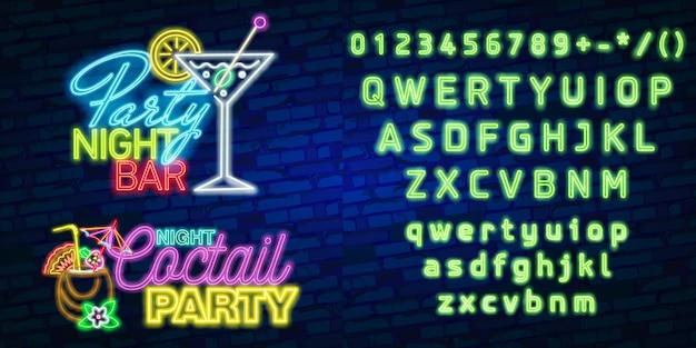 Tipografia de alfabeto de fonte de néon com festa à noite bar e sinal de néon coquetel, tabuleta brilhante