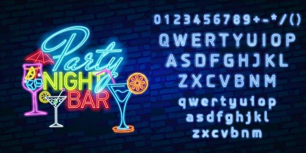 Tipografia de alfabeto de fonte de néon com festa à noite bar sinal de néon, tabuleta brilhante