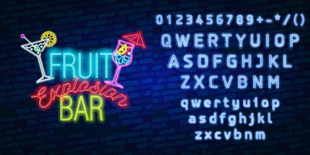Tipografia de alfabeto de fonte de néon com sinal de néon de bar de frutas, tabuleta brilhante