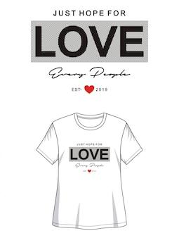 Tipografia de amor para impressão camiseta menina
