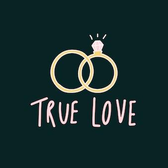 Tipografia de amor verdadeiro com vetor de anéis de casamento