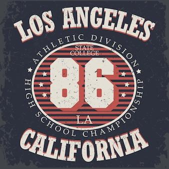 Tipografia de atletismo, gráficos de camisetas da califórnia, design de impressão de roupas esportivas vintage