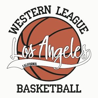 Tipografia de basquete los angeles califórnia sport para design de roupas camisetas de impressão