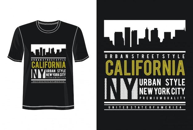Tipografia de califórnia para impressão camiseta