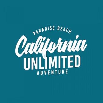 Tipografia de califórnia para o t-shirt