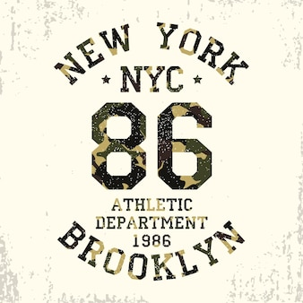 Tipografia de camuflagem de new york brooklyn grunge para roupas de design camiseta atlética